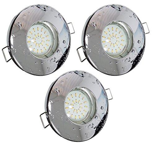 Trango® Lot de 3 spots IP44 pour salle de bain/douche/Sauna avec- 3 x ampoules LED GU10 3 W de 3000 K, blanc chaud, Chrom Tg6729ip-038b, GU10 3.00W 230.00V