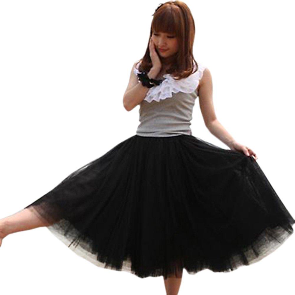 Womens Fashion 5 Layers Princess Skirt Petticoat Knee Length Dress Black Amazoncouk Clothing