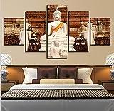 mmwin d Decoración para el hogar Habitación Cartel Citas de Acuarela 5 Piezas Figura de Buda Arte de Pared Imágenes HD Impreso Lienzo Abstracto s