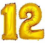 DekoRex Folienballon Zahlenballon Luftballon Geburtstag Deko 80cm Zahl Gold 12