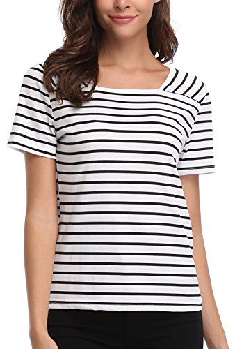 MISS MOLY Women's Classic Contrast Stripes Tshirt Tunic Simple Shirt Black and White - M