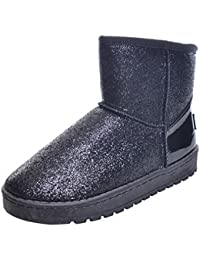 Easemax Damen Warm Klassisch Langschaft Schleife Stiefel Mit Absatz Schwarz 37 EU