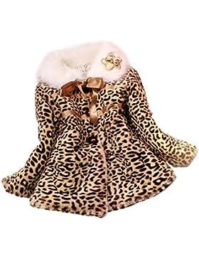 FEITONG princesa de las muchachas Piel sintética Escudo de leopardo Niñas chaqueta caliente Ropa traje para la...