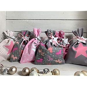 Adventskalender Säckchen 24 Stoffsäckchen Beutel zum befüllen Pferd Einhorn grau rosa pink Handmade by Sinchns…