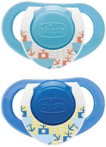 Chupete de caucho 12 meses en adelante 2 unidades Chicco Physio Air color azul