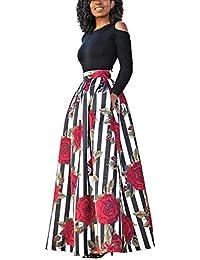 carinacoco Donna Vestiti Lunghi Due Pezzi Senza Spalline Manica Corta  Camicetta + Rosa Stampa Gonne Lungo 7c73238e5f6