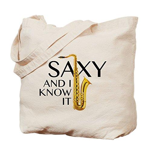 CafePress–Saxy und ich weiß, es–Leinwand Natur Tasche, Tuch Einkaufstasche Tote S khaki
