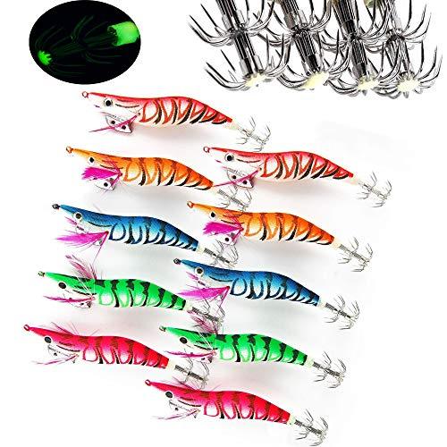 Angelköder für Tintenfische/Oktopusse/Garnelenköder/Fischköder/Angelköder, gewickelt, aus Holz, Garnelen, verschiedene Farben, 3.0#-12cm/10pcs