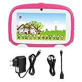 Eboxer Tablet PC da 7 Pollici per Bambini 1 GB di RAM + 8 GB di schede di Supporto TF Card WiFi e Bluetooth Doppio Schermo Integrato per Fotocamera Touch Screen Quad Core(Rosa)