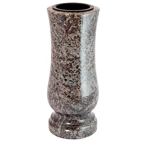 Élégant Tombe Vase en granit véritable Orion (clair) Hauteur 28 cm/ø 12 cm pierre tombale résistant aux intempéries résistant au gel Vase avec insert en plastique cimetière en granit