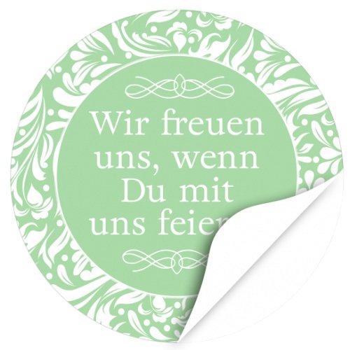 rund / Wir freuen uns, wenn Du mit uns feierst / grün / Hochzeit / Taufe / Geburtstag / Konfirmation / Aufkleber / Sticker / Einladung (Grüne Hochzeit Einladungen)