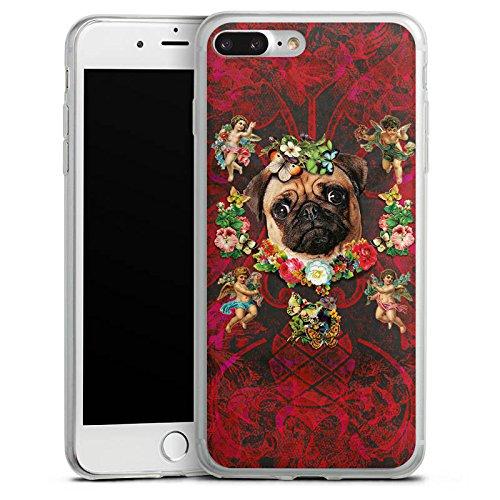 Apple iPhone 8 Plus Slim Case Silikon Hülle Schutzhülle Mopsi Engel Blumen Mops Hund Silikon Slim Case transparent