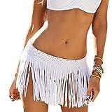 DELEY Frauen Mädchen Häkeln Quaste Kurzen Rock Bademode Badeanzug Bikini Cover UP Beachwear Sommer Weiß
