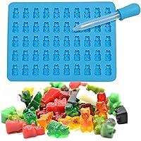 ODN Silikon Gummi bärchen-Formen mit 1 Pipetten Süßigkeit Silikonformen,Jelly Schokoladen-Formen (Blau)