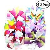40pcs Niñas Arcos del pelo Cinta del Grosgrain Arco iris Cambio gradual Molinete Boutique Pinzas de arco para adolescentes Niños Niño Coletas (20 colores)
