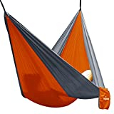 Hängematte Camping Hammock Single/Double Parachute, leicht und tragbar, mit extra Schlafaugenmaske Augenbinde Blindfold für für Outdoor/Camping/Reisen (Single, Orange/Grau)