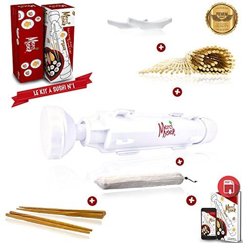Mercy myself strumento per sushi e maki,sushi bazooka, kit per sushi con e-book [lingua italiana non garantita] con ricette, 2paia di bacchette con supporto a forma di anatra e tovaglietta di bambù.