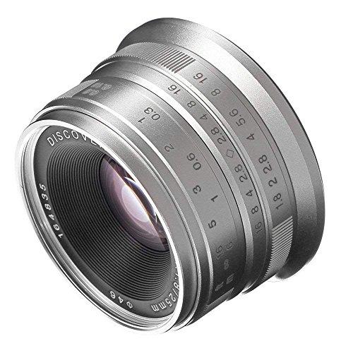 Fotga 25mm F1.8 Manueller Fixfokusobjektiv Manueller Fokus Objektiv , große Blende, 68 Grad Betrachtungswinkel, für Fujifilm Fuji Cameras X-A1 X-A10 X-A2 X-A3 X-AT X-M1 XM2 X-T1 X-T10 X-T2 X-T20 X-Pro1 X-Pro2 X-E1 X-E2 X-E2s APS-C (For Fujifilm X Mount Camera, Silver)