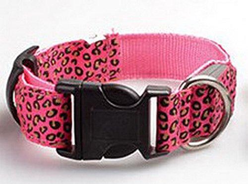 Justierbarer Haustier-Katzen-Hund glühen LED-Leopard-Kragen leuchten leuchtende Nylonumhängeband-blinkende Hundehalsband-Kragen (Hundehalsbänder, Katze, Haustier-kragen)