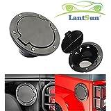 Lantsun Black Fuel Filler Door Cover Gas Tank Cap 4 Doors 2Doors for 2007-2016 Jeep Wrangler JK & Unlimited J073G
