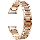 Replacement Stainless Steel Bling Bling Bands for Fitbit Charge 2 Heart Rate Fitness Wristband Wireless Activity Bracelet Tracker Sport /No Tracker (Rose Gold)