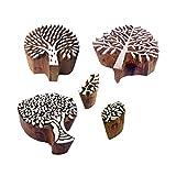 Royal Kraft Ethnisch Entwürfe Blatt und Baum Holz Blöcke Stempel (Set von 5)