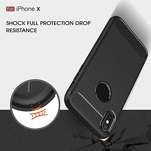 iPhone X case, Superior ZRL® [fibra di carbonio disegno TPU] copertina con assorbimento di shock resiliente e Anti-Slip TPU design per iPhone X blue