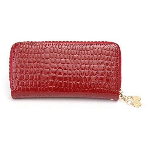 Doppel-portemonnaie (OURBAG Frauen Lange Doppel Reißverschluss Portemonnaie Beige Rot Schwarz Blau Leder Geldbeutel Elegante Geldbörse Groß Rot)