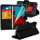 LOLO® Vodafone Smart prime 6 Hohe Qualität Karbon Faser Buch Style Brieftasche Abdeckung mit Displayschutzfolie und Ausziehbarer Stylus Pen