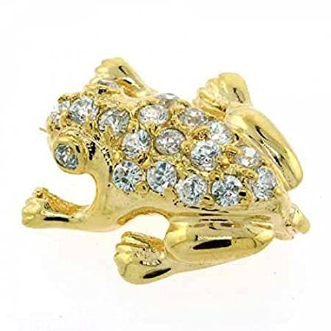 Vermeil (24k Gold over Sterling Silver) Cubic Zirconia Frog