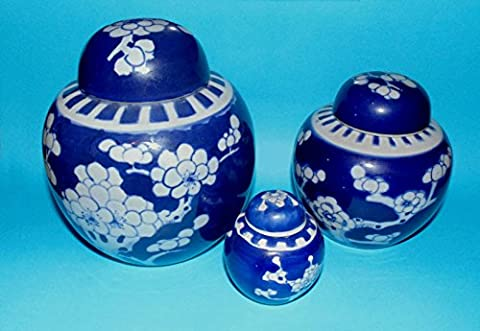 Chinese china 3 x lidded ginger jars blue and white pottery