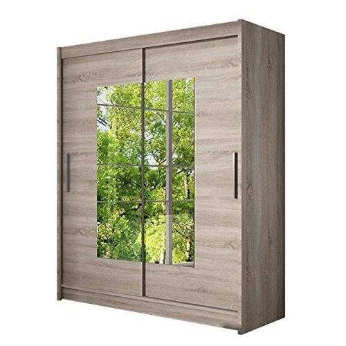 Schwebetürenschrank Westa III Kleiderschrank mit Spiegel, Modernes Schlafzimmerschrank, Schiebetürenschrank, Garderobe, Schlafzimmer (Trüffel)