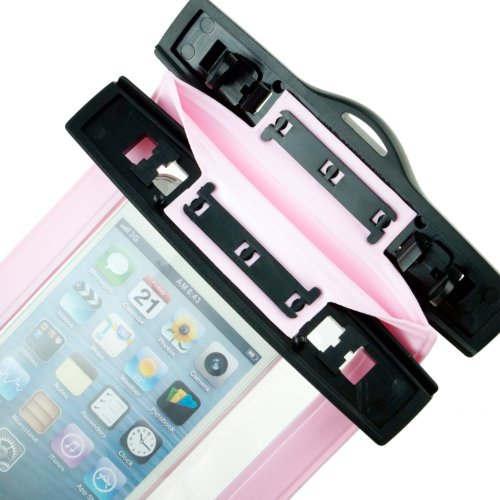 TIODIO® Custodia Impermeabile con Laccio da Collo per Telefoni Cellulari con Funzione Touch Screen Compatibile con Apple iPhone 6, iPhone 6 Plus, Galaxy S6, S6 edge e Altri Smartphone con 4 a 5,5 Sc Rosa
