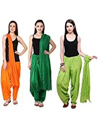 Fashion Store Women Cotton Patiala Salwar With Dupatta Combo Of 3 (Free Size, Mustered-Yellow & Dark Green & Green )