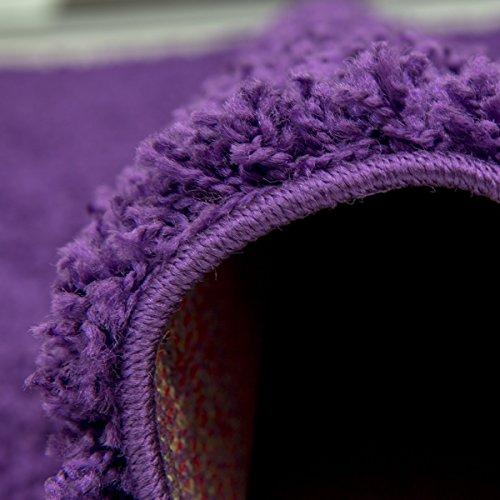 Teppich-Home Star Shaggy Teppich Farbe Hochflor Langflor Teppiche Modern für Wohnzimmer Schlafzimmer Uni Farben, Farbe:Lila, Maße:Ø 160 cm Rund