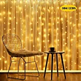 Qomolo Tenda Luminosa 300 LED Catena Luci Interno 3x3M Luci Stringa Impermeabile Luci LED Natale Esterno con 8 Effetti Luci Decorative per Natale Giardino Matrimoni Feste Compleanno