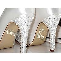 Wifey Per Lifey Scarpe Da Sposa Adesivi Giorno Del Matrimonio Matrimonio Sposa Scarpe Decal Con Motivo Grafico - Bianco Lucido