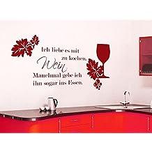 Wandtattoo für Küche Esszimmer Spruch Ich liebe es mit Wein zu kochen mit Glas (106x57cm//030 dunkelrot)