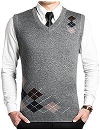 Dooxi Hombre Papá Otoño invierno Sin Mangas Cuello en V Chaleco De Suéter Patrón de Rombo Negocio Punto Suéter Chalecos
