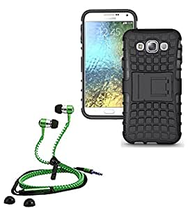 Hard Dual Tough Military Grade Defender Series Bumper back case with Flip Kick Stand for Samsung E5 + Stylish zipper hand free for all smart phones by Carla Store