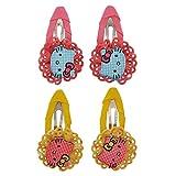 #1: Maayra 4 Tic Tac Hair Clips Pink Yellow Dailywear Schoolwear Hair Accessories