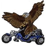 "Gran espalda parche bordado nitrógeno ""Trike y águila"" nuevo Gr, aprox 22 cm x 21 cm (08019 azules) mivall Triker canionm"