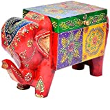 Handmade Wooden Painted Home Decorative Elephant Shape Dry Fruit Box