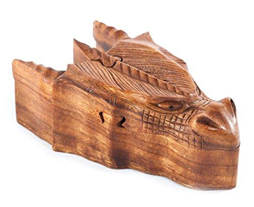 Windalf Pagan Vikings Schmuckdose FAFNIR 17 cm Wikinger Drache Holz-Schmuckschatulle Geschenkbox Mittelalter Drachenfigur Handarbeit aus Holz