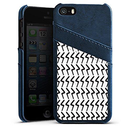 Apple iPhone SE Housse Outdoor Étui militaire Coque Black Jack Abstrait Motif Étui en cuir bleu marine
