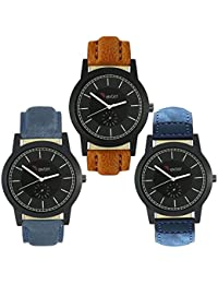 Talgo 2017 New Collection Foxter (combo Of 3) Black Round Shapped Dial Leather Strap Fashion Wrist Watch For Boys... - B0763XR88J