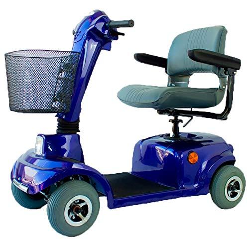 Mobiclinic, Scooter eléctrico minusválido, 4 ruedas, Para adultos, Asiento giratorio y plegable, Auton. 30 km, 12V, Azul, Piscis