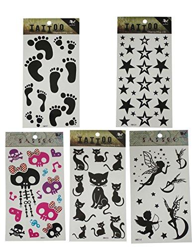 Über 30 Designs ((Packung mit 5) Temporary Tattoos (über 30 Tätowierungen in Summe) - Viele Designs - Fußabdruck, Sterne, Totenkopf, Katzen-und Fee-Angels & Amor)