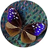 Pluma de pavo real y mariposa personalizada redonda Mouse Pad