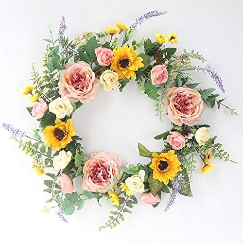 NQXXN Pfingstrose Sonnenblume Kranz, 19 Zoll künstlicher Kranz für Haustür, Wand/Windows/Urlaub/Hochzeit/Home/Outdoor/Four Seasons Decor (Seasons Halloween-party Four)